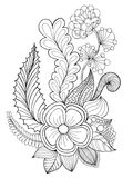 Fantasy flowers coloring page. vector illustration
