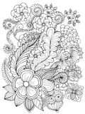 Fantasy flowers coloring page. Royalty Free Stock Images
