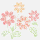 Fantasy flowers paisley. Floral ornament background for fabric, textile, cards, wrapping paper, wallpaper template. Ornamental bri Royalty Free Stock Photography