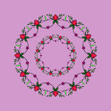 Fantasy flowers. Repeating round-shaped abstract background with flowers and leaves Stock Photo