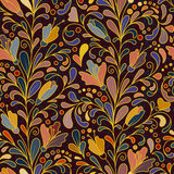 Fantasy flowers seamless pattern. Floral ornament  on dark background for fabric, textile, cards Stock Photos