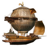Fantasy flying ship Stock Images