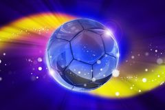 Fantasy Football Game. Background with Glassy Soccer Ball in the Center and Colorful Light Rays Stock Photography
