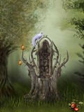 Fantasy Forest. With wooden throne stock illustration