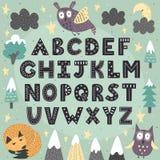 Fantasy forest alphabet for children. Awesome ABC poster. Vector illustration stock illustration