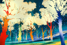 Fantasy forest with colorful trees. Landscape digital painting Stock Images