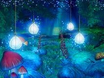 Fantasy forest illustration Stock Images