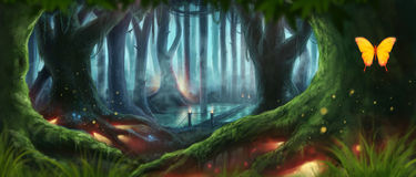 Fantasy Forest Illustration. Magic Night Dream Fantasy Forest Illustration rasterized Royalty Free Stock Images