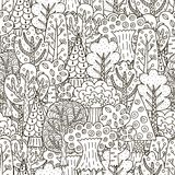 Fantasy forest seamless pattern. Black and white trees background Stock Image