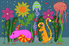 Fantasy forest. Vector fantastic night forest with fabulous animals Stock Photography