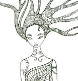 Fantasy forest woman coloring page. stock illustration