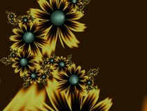 Fantasy fractal image, original template for inserting text. Dark and gold fantasy flowers. royalty free illustration