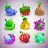 Fantasy fruits. Set of funny colorful fantasy fruits,  illustration Royalty Free Stock Photo