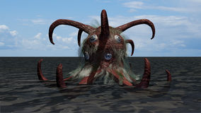 Fantasy funny seamonster. A 3D rendered image of a fantasy seamonster. This funny creature has some tentacles, hair and a lot of eyes. The animal stands in the Stock Image