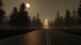 Fantasy future 3d UFO stole red car at night