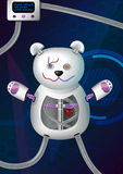 Fantasy futuristic hi-tech illustration of a bionic robot mechanical teddy bear with red heart, cords, charger and other vector illustration