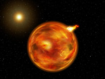 Fantasy Galaxy Planet of Fire. View of a planet of fire in a fantasy galaxy Stock Photo