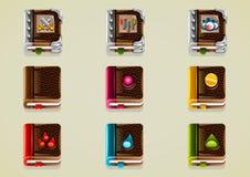 Fantasy game books. Set of nine fantasy game books Royalty Free Illustration