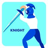 Fantasy Game Class Preview Vector Illustration. Knight, Crusader Holding Sword Cartoon Character. Role Player, Ancient Soldier Standing in Combat Pose royalty free illustration
