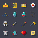 Fantasy game flat icons Stock Photography