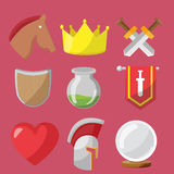 Fantasy game icons flat sets  Royalty Free Stock Images