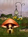 Fantasy Garden. With mushroom and fairy lamp Stock Images