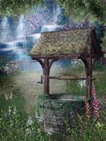 Fantasy garden 2. Springtime scenery with a fantasy garden and a wishing well