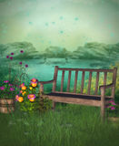 Fantasy garden with bench Royalty Free Stock Photo