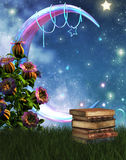 Fantasy garden and books. A 3D rendered image of magic books, moon and garden vector illustration