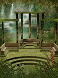 Fantasy garden with columns. A springtime scenery with a fantasy garden and a waterfall