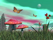 Fantasy garden - 3D render. Fairy mushrooms, colorful flowers and monarch butterflies flying by green full moonlight Royalty Free Stock Photo
