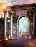 Fantasy garden with a gate Stock Photo