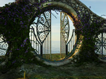 Fantasy garden gate. 3D render of a fantasy garden gate with purple flowers Royalty Free Stock Images