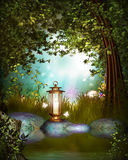 Fantasy Garden with lamp Royalty Free Stock Photo