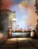 Fantasy Garden with a lamp and bird Stock Images