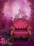 Fantasy garden with a pink chair. Fairy garden with a pink armchair
