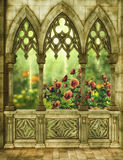 Fantasy garden with roses. Fantasy background with patio and garden 3D illustration Stock Photography