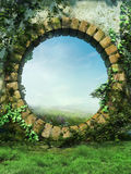 Fantasy garden wall vector illustration