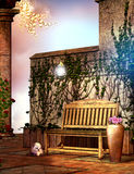 Fantasy Garden with a wooden bench Royalty Free Stock Images