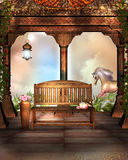 Fantasy Garden with a wooden bench and horse Stock Photography
