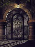 Fantasy gate at night Royalty Free Stock Images