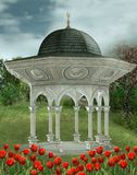 Fantasy gazebo with tulips Stock Photography