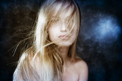 Fantasy girl. Beautiful blond dream girl with wind in her hair Stock Photo