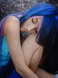 Fantasy girl with blue hair. In the magic forest Royalty Free Stock Images