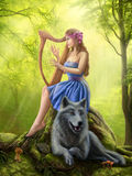 Fantasy girl fairy and friend wolf. Plays a harp Stock Photo