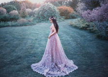 Fantasy girl in a fairy garden. Young elf in a beautiful purple dress with a long train. Creative colors artistic processing Royalty Free Stock Photography