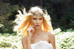 Fantasy girl in the forest Royalty Free Stock Images