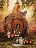 Fantasy girl, gourd house, and acorns vector illustration