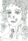 Fantasy girl. Hand drawn doodle and watercolor illustration of beautiful face. Royalty Free Stock Photography