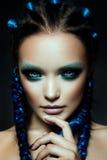 Fantasy Girl. Mermaid. Fashion model Woman with fantasy brows. Long blowing brown hair. Fantasy Girl. Mermaid Stock Image